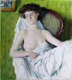 Portrait of a Lady. Model, 1908 by Boris Kustodiev. Realism. nude painting (nu)