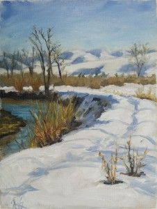 Snow Path Along River --from RachelSteely.com oil on linen plein air painting