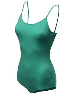a01a4fe2c78 Basic Solid Cami Adjustable Bodysuits Green Size S   To view further for  this item
