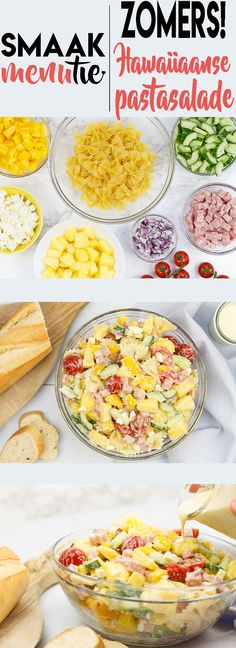 Hawaiiaanse pastasalade #recept #hawaii #pasta #salade #salad #ananas Tomato Pasta Salad, Pasta Salad Recipes, Ham And Cheese Pasta, Salads To Go, Carlsbad Cravings, Vegetarian Recipes, Healthy Recipes, Lunch To Go, Bbq