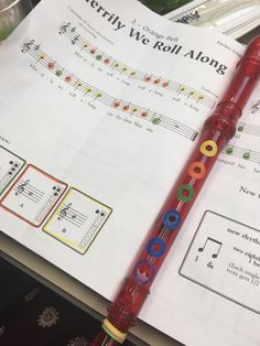 Adapting recorder so all students can play: color coded w/ reinforcement stickers Recorder Karate, Recorder Music, Kindergarten Music, Teaching Music, General Music Classroom, Middle School Music, Elementary Music, Music Lessons, Music Education