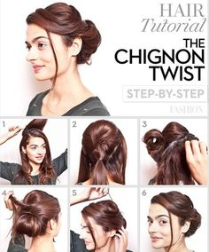 Chic Chignon hairstyle is perfect for you, if you want to special hairdo for a party or occasion. Chignon hairstyle gives a unique look to your hair. Pretty Hairstyles, Easy Hairstyles, African Hairstyles, Hairdos, Wedding Hairstyles, Fancy Ponytail, Chignon Updo, Braided Updo, Coiffure Hair