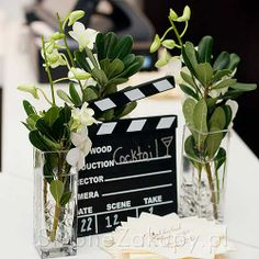 film slate, flowers, love