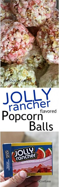 Jolly Rancher Flavored Popcorn Balls - Life Should Cost Less Flavored Popcorn, Popcorn Recipes, Candy Recipes, Gourmet Popcorn, Sweet Recipes, Crispy Treats Recipe, Rice Crispy Treats, Krispie Treats, Jolly Rancher Flavors