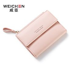 Small Pretty pink Money wallet card holder girls slim wallet hasp design cute ladies purse PU leather Mini wallet for women