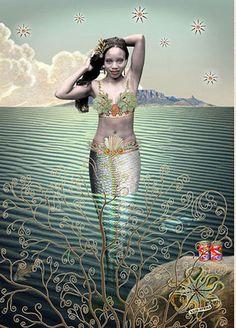 Sea maiden with stars by Karin Miller - South African art Black Mermaid, Mermaid Art, Mermaid Images, Black Women Art, Black Art, Sirens, Orishas Yoruba, Sea Siren, Kunst Online