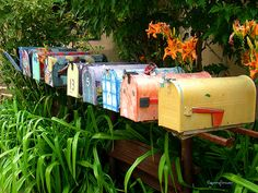 Mailboxes in Gypsy Alley, Santa Fe, NM. This appears to be from Flickr by GemFireAir.