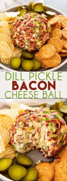 Dill Pickle Bacon Cheese Ball So flaky, fluffy and buttery! With crisp bacon bit… Dill Pickle Bacon Cheese Ball So flaky, fluffy and buttery! With crisp bacon bits, sharp cheddar, black pepper + garlic. Spicy Recipes, Lunch Recipes, Meat Recipes, Baby Food Recipes, Mexican Food Recipes, Appetizer Recipes, Cooking Recipes, Party Appetizers, Appetizer Dessert