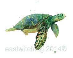 Aquarelle Sea Turtle PRINT - 13x18cm - format paysage - « Riding the gonfler »    Ma tortue de mer aquarelle rêveur dérive par son milieu aqueux et
