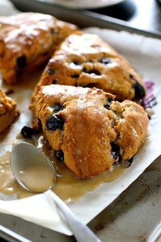 Roasted Banana and Blueberry Scones