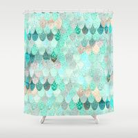 Shower Curtains featuring SUMMER MERMAID by Monika Strigel