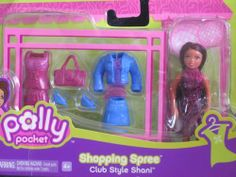"""Polly Pocket Shopping Spree Club Style SHANI DOLL Set (2006) by Mattel. $28.99. For Package Condition see CONDITION NOTE or Email Seller for Details. *Package has minor damage.. All sizes, colors & details are provided to the best of my ability & may not be exact & may vary.. CONTENTS: Shani Doll approx. 3-3/4"""" tall with dark brown combable Hair w/burgundy color highlights on top. Shani Doll wears a purple Dress, & comes with a blue Skirt, a blue Jacket w/blue & ..."""
