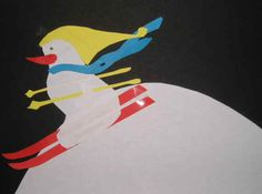 Skiënde sneeuwpop - Knutselen! Klik op de link voor de mal en de beschrijving.