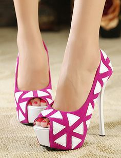 European Style Triangle Apricot Two Tone Peep-Toes