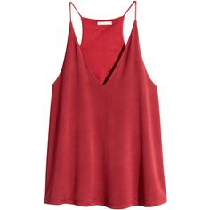 H&M V-neck top ($20) ❤ liked on Polyvore featuring tops, tank tops, red, shirts, racer back tank top, red v neck shirt, vneck shirts, red top and red racerback tank top