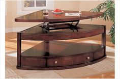 The Simple Stores Thom Contemporary Pie Shaped Lift Top Coffee Table with Storage - Take 25% OFF Today!