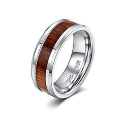 HAMANY 8MM Men's Tungsten Carbide Ring Wood Inlay and Beveled Edge Wedding Band,Sizes 7 -12 (including half size)