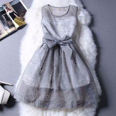 Cute Floral Organza Sleeveless Mini Dress
