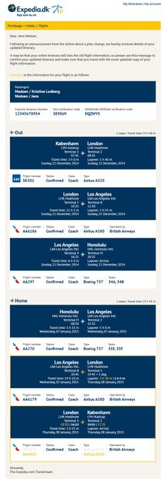 I recently got an email from Expedia, that said there was i change to my flight, but there mail didn't highlight the change, and i had to find it by manually comparing the original confirmation mail to the new one! So i thought i could do it a little better and prettier :) Email Design, Ui Design, Booking Information, Confirmation, Highlight, Change, Thoughts, Website, Travel