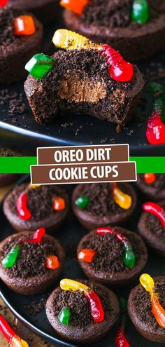Chewy chocolate cookies, velvety chocolate buttercream, finely crushed Oreos and fruity gummy worms make these Dirt Cookie Cups a Halloween sensation! They're super easy to make and fun to decorate. Cookie Cups, Cookie Dough, Delicious Desserts, Dessert Recipes, Chewy Chocolate Cookies, Crushed Oreos, Cupcake In A Cup, Kinds Of Cookies, Chocolate Buttercream