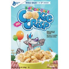 Cookie Crisp Birthday Cake Cereal Coming Soon - Snack Gator Cookie Crisp Cereal, New Cereal, Kids Cereal, Birthday Cake Flavors, Cookie Cake Birthday, Healthy Cereal, Cereal Recipes, Mini Chocolate Chips, Junk Food