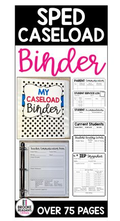 Special education caseload binder has everything you need to get organized as a special education teacher. All the forms, data sheets, time logs, and more to help you keep track of student information. Student Information, School Calendar, Data Sheets, Special Education Teacher, Reading Levels, Logs, Getting Organized, Binder, Track