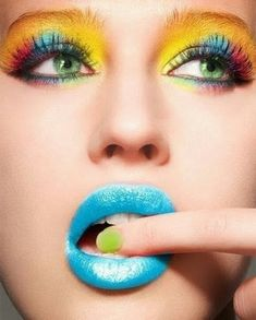 Colorful make-up, I would personally fill in the brows...
