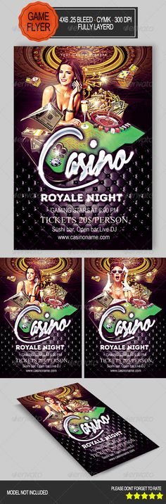 Casino Night Flyer, it is of 4×6 size with .25 bleed, CMYK, 300 DPI files included: Help file, 1 PSD Editable File. Model is not included.