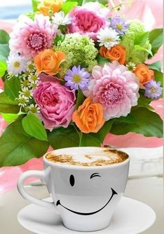 Beautiful Flower Quotes, Flower Quotes Inspirational, Good Morning Beautiful Images, Good Morning Gift, Good Morning Dear Friend, Good Morning Coffee, Coffee Flower, Flower Tea, Coffee Gif