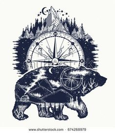 Bear double exposure, compass, mountains tattoo art. Bear grizzly silhouette t-shirt design. Tourism symbol, adventure, great outdoor
