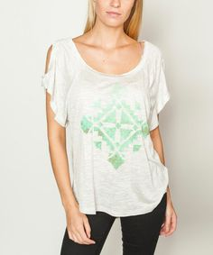 Loving this White & Green Tribal Icon Scoop Neck Cutout Short-Sleeve Tee on #zulily! #zulilyfinds