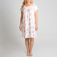 ~~pinned from site directly~~ . . . La Cera Women's Plus Size Cap Sleeve Short Ivory Floral Printed Chemise