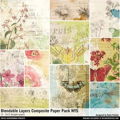 Blendable Layers Composite Paper Pack No. 05 collage art vintage botanicals papers for instant download #designerdigitals