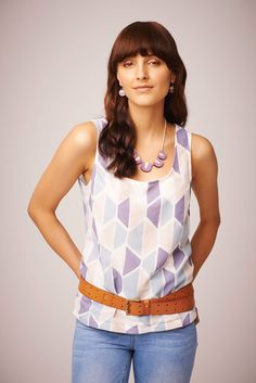 Polli - Concertina Tank in Ocean. This summery tank is light and comfortable to wear. Made is Sydney from hand screen printed silk/cotton voile in a soft blue/purple geometric pattern. • See more at The Big Design Market on 6/7/8 December 2013 – Royal Exhibition Building, Melbourne.  www.thebigdesignmarket.com