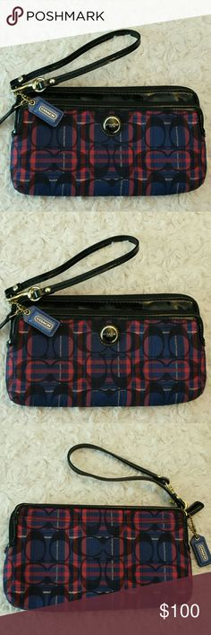 Coach Signature Poppy Tartan Plaid Wristlet Coach Signature Poppy Tartan Plaid Double Zippered Wallet with Black Patent Trim /Wristlet Blue and A reddish pink color,  Front pocket,  Inside 6 Cc Slots,  3 larger slots,  Tag included,  Good condition Coach  Bags Clutches & Wristlets
