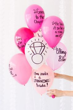 Got a gal pal getting married? Gather the ladies and throw her a bachelorette party she'll remember forever! And with these 16 bachelorette party ideas, you'll be talking about it for years to come! Diy Balloon, Hen Party Balloons, Ballon Party, Pink Balloons, Bridal Balloons, Engagement Balloons, Balloon Wedding, Balloon Bouquet, Bride To Be Balloons