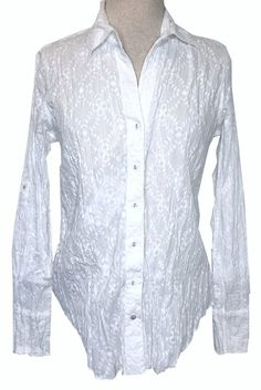 1e58794f004 Cino White Embroidered Crinkle Button Down Top with Roll Up Sleeves