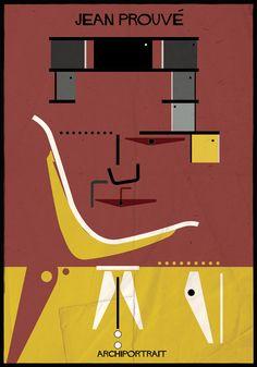 ARCHIPORTRAIT, uma representação artística de 33 arquitetos, na qual seus rostos e expressões são compostos por suas obras