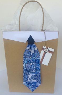 Denim and Blue Paisley Necktie Gift Bag