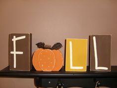 Primitive Painted Blocks | Fall Autumn Pumpkin Wood Block Set ... Pumpkins Hand Painted Wood ...