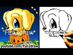 Golden Retriever - Puppy - How to Draw a Dog for Halloween - in a Pumpkin - Cute Drawings - - Just Labrador Cartoon Drawings Of Animals, Art Drawings For Kids, Love Drawings, Easy Drawings, Drawing Animals, Halloween Cartoons, Dog Halloween, Chibi Dog, Retriever Puppy