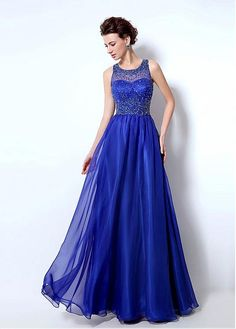 Chic Silk-like Chiffon Jewel Neckline A-line Prom Dresses With Beadings
