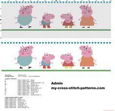Bordo punto de cruz con la familia Peppa Pig manta bebé