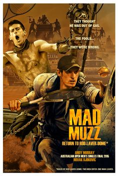 """""""@NialSmith: Mad Muzz - Return to Rod-Laver-Dome #ausopen 2015 #Andy #Murray #Novak #Djokovic """". Cool poster for Oz final x Posted by @judy Murray on #Twitter"""
