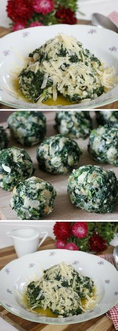 South Tyrolean spinach dumplings are a real gourmet meal. The dumpling recipe takes some time, but is really delicious. The Tyrolean spinach dumplings are a holiday meal for the home. Cooked Spinach Recipes, Veggie Recipes, Gourmet Recipes, Vegetarian Recipes, Healthy Recipes, Eating Raw, Healthy Eating, Farmers Cheese, Cheese Food
