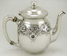 R. Wallace Sterling Silver Floral  Garden Trellis Teapot, c. 1910