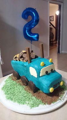 Blue Truck construction mud cake honeycomb buttercream Milo  coconut. Boy 2nd Birthday cake