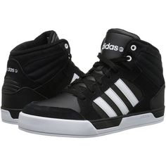 adidas BBNEO Raleigh (Black/White/White) Men's Shoes ($53) ❤ liked on Polyvore featuring men's fashion, men's shoes, men's sneakers, black, mens shoes, mens rubber shoes, mens black shoes, mens white sneakers and mens lace up shoes