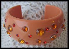 Vintage Rhinestone plastic Bracelet Cuff Orange DEADSTOCk