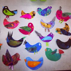 1st and 2nd Grade Bird Collages